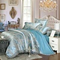 European Style Leaves Print Blue Duvet Cover Set Lace Border Linens Silk Cotton Jacquard Queen King