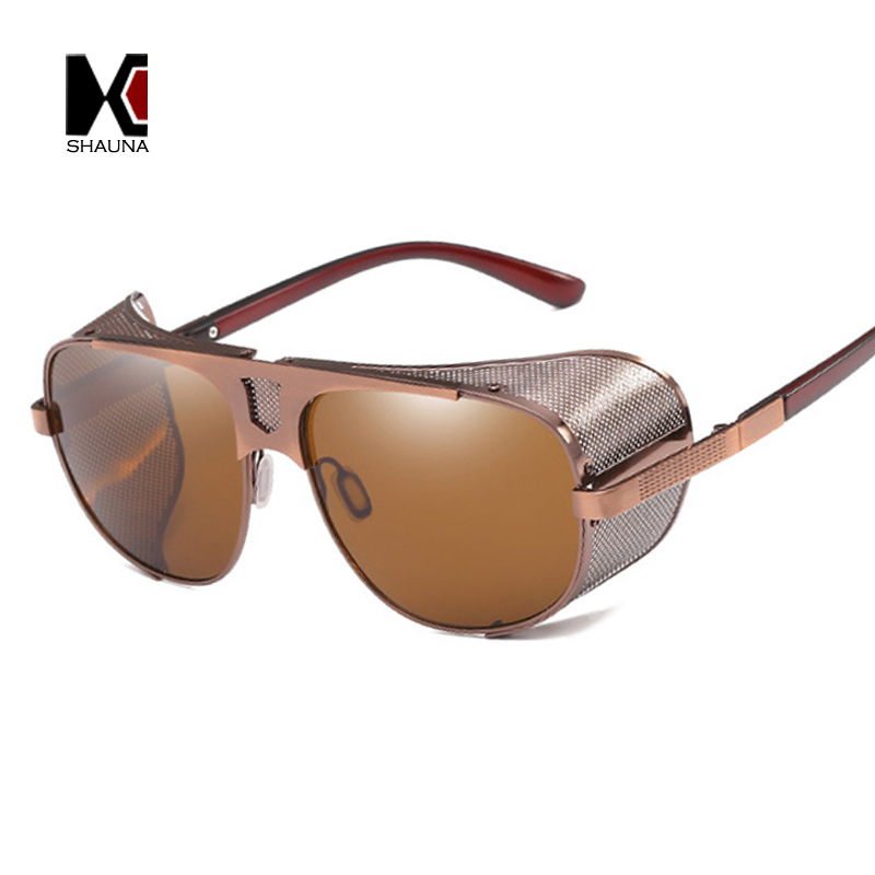 f45c029e442 SHAUNA Vintage Men Steampunk Sunglasses Brand Designer Wire Mesh Women Punk  Goggle Sun glasses UV400