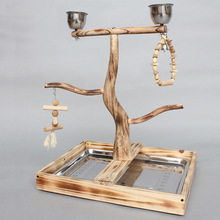 Natrual Wood Parrots Standing Cage With Feeding Cups Bird Chewing Biting Toys Parrot Playing Platform Parrot Tree Perches CW083