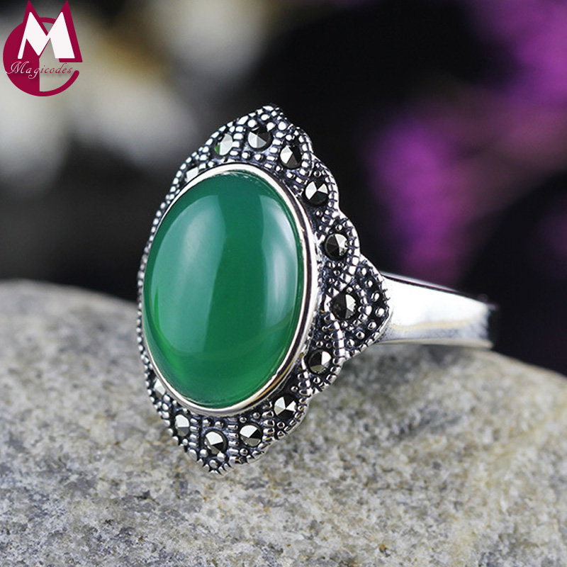Luxury Big Green Agate Wedding Engagement Valentines Day Gift 100% Sterling Silver 925 Jewelry Opening Rings For Women SR72
