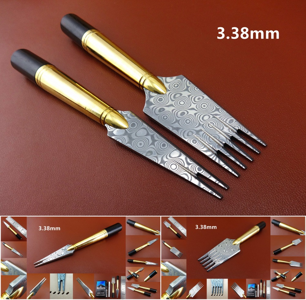 3.38mm Leather Craft French Style Damascus Steel Sewing Stitching Pricking Iron Chisel Punch Tool Set Edger Crease Groover Skive