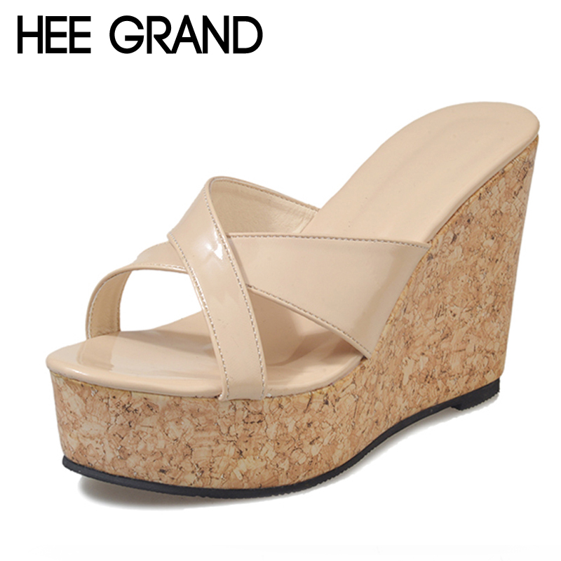 HEE GRAND Solid Platform Slides 2018 Slip On Wedges Beach Summer Casual Shoes Woman Fashion Creepers Slippers 3 Colors XWT1057 hee grand 2017 creepers summer platform gladiator sandals casual shoes woman slip on flats fashion silver women shoes xwz4074