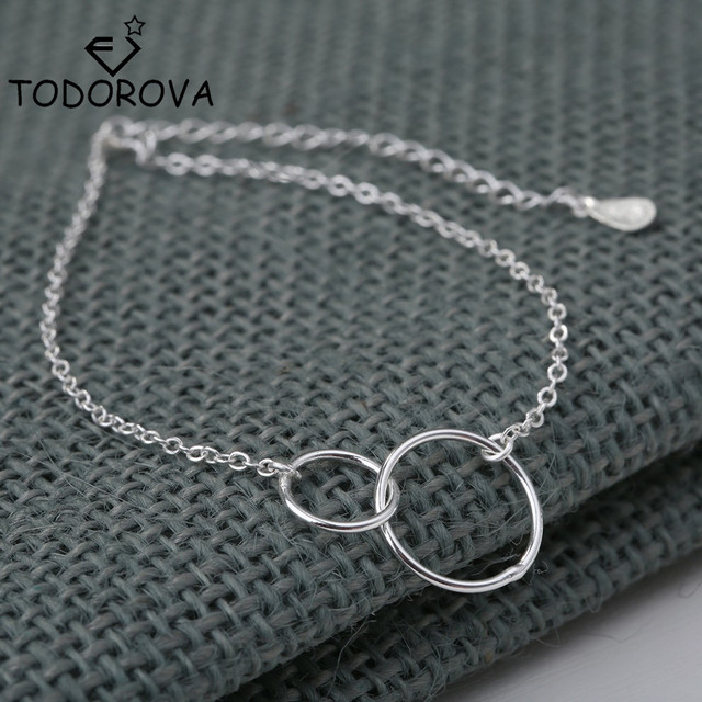 Todorova Friendship Infinity Bracelets Women Silver Double Round