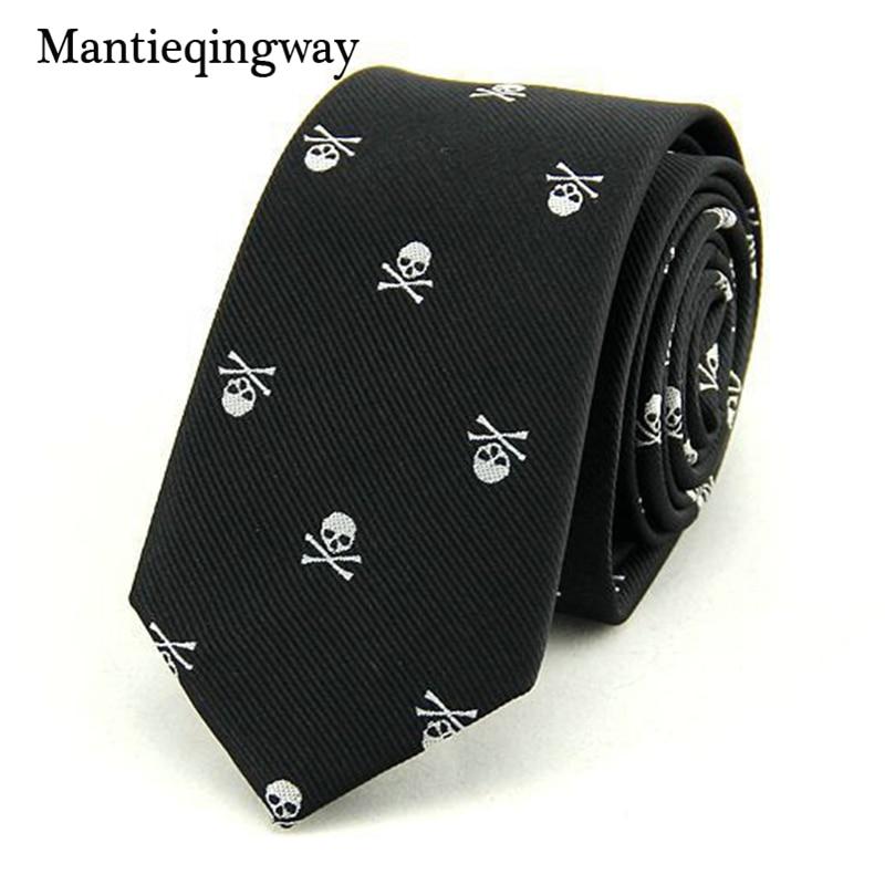 Mantieqingway kravate za moške 6 cm kože usnjeni poliestrski svileni krak lobanje tisk poslovne ogrlice Corbatas poročne obleke Gravatas