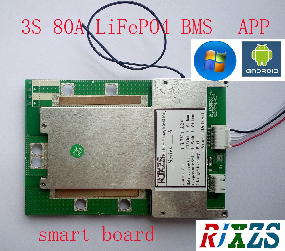 Chargers 3s 40a/60a/80a Smart Board Lifepo4 Bms/pcm/pcb Battery Protection Board For 3 Packs 18650 Battery W/balance W/app