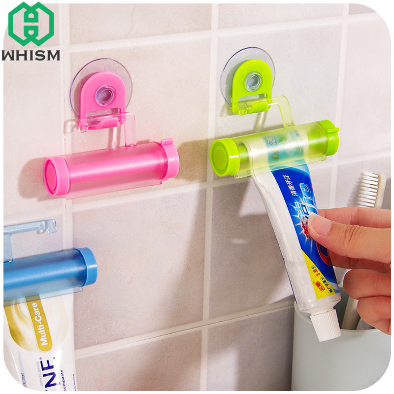 WHISM Rolling Tooth Paste Squeezer Plastic Toothpaste Dispenser Tube Suction Cup Cleanse ...