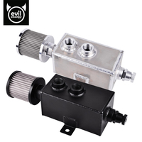 Evil Energy 2L Aluminum Oil Catch Can Tank With Oil Filter With Breather & Drain Tap Baffled Natural Finish Black/Silver