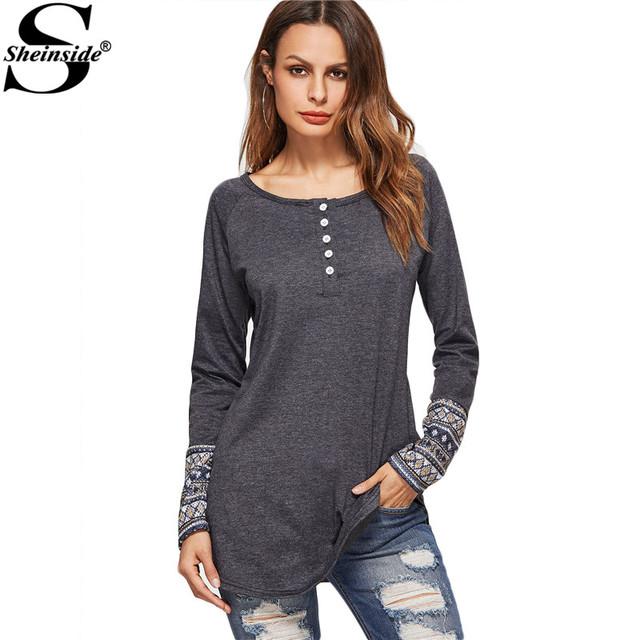 Sheinside Mulheres Tops Luva Longa Das Mulheres Tops Mulheres Camiseta Cinza Escuro Contraste T-shirt Impressão Tribal Cuff Botão Frontal