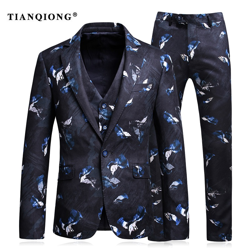 TIAN QIONG Suit Men 2017 Classic Mens Suits Wedding Groom Fashion Printed Floral Prom Suits Stage Costumes for Singers 3 Pce
