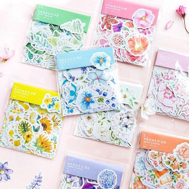 45 unids/pack lindo Kawaii flores decoración pegatina diario Flor de pegatinas Scrapbooking papelería de la escuela suministros