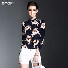 OYCP 100% Silk Women Dog Print cartoon Blouses and Shirts Top 2017 Spring Summer Style blouses red blue cartoon blouse and shirt(China)