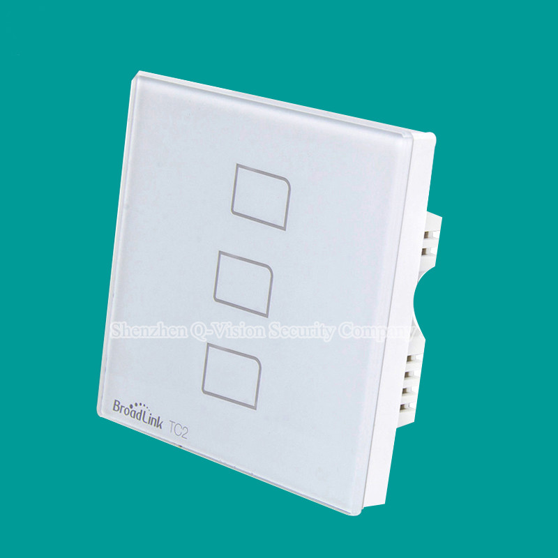 6-Broadlink TC2 UK 3gang Smart Home Phone Remote Wall touch Switch,RF433 control lamp light,Luxury white Crystal Glass AC110V-240V