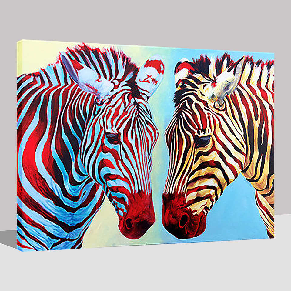 Diy Lukisan Dengan Angka Gambar Zebra Hewan Minyak Gambar Kaligrafi Akrilik Mewarnai Di Atas Kanvas Dekorasi Rumah Tangan Cat Dinding Seni