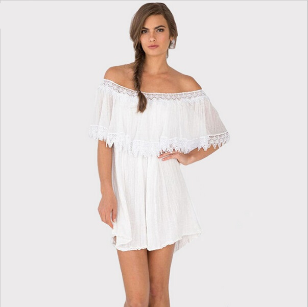 White Plus Size Party Dresses Summer Style Boat Neck Off Shoulder