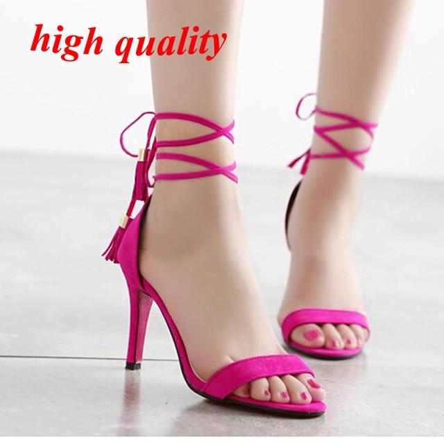 cdfb1f421053 lace up sandals pumps shoes high heels womens shoes heels tassel sandals  ladies pink heels summer sandals low heel shoes Y864