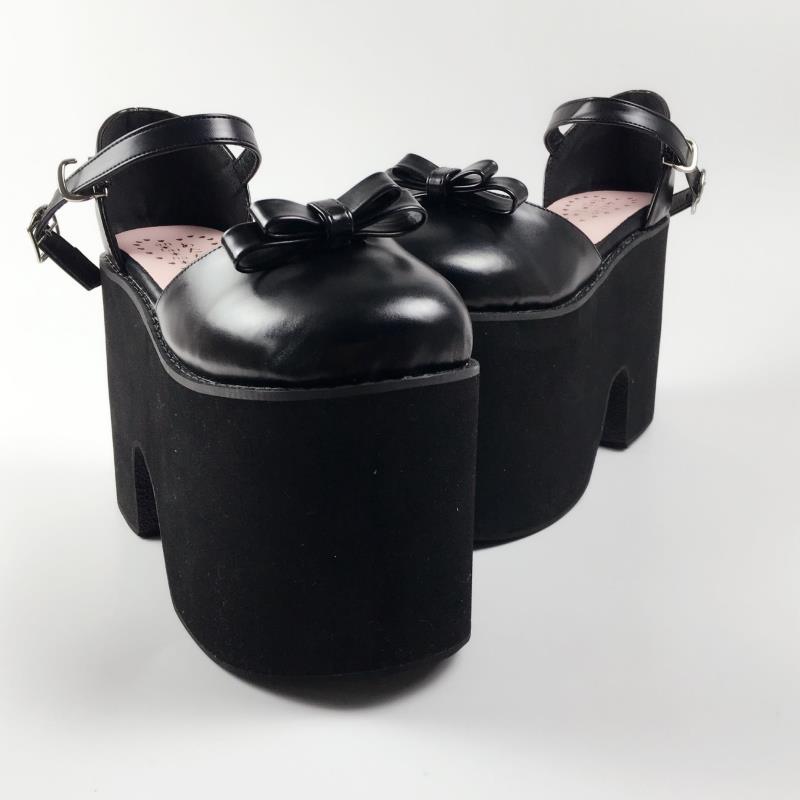 Gruesos Princesa Tamaño Dulce De An1408 customized Lolita Luz Del Lujo Sandalias Moda Cuero Gran Personalizada Negro Mollete Color Y Huecos Zapatos qgtpwfryg