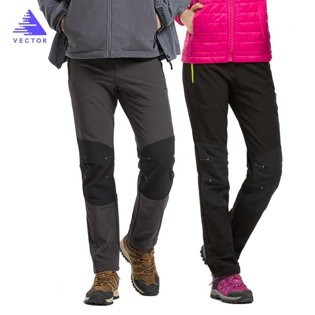 VECTOR Camping Hiking Pants Waterproof  Men Women Warm Winter Thicken Fleece Softshell Pants Outdoor Mountaineering Trekking