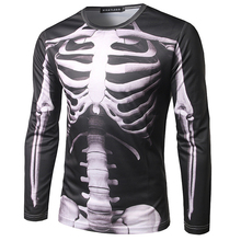Cool Skeleton 3D Printed Mens T-shirt 2017 Brand New Long Sleeve Tee Shirt Homme Fashion Harajuku Slim Fit Camiseta 3D Top Tees