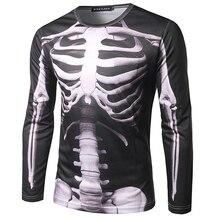 Cool Skeleton 3D Printed Mens T shirt 2017 Brand New Long Sleeve Tee Shirt Homme Fashion