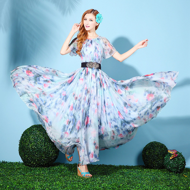 069e21d18d262 US $42.0  Women Formal Long chiffon Prom Bridesmaid Wedding Maxi Dress Plus  Size Women Spring Summer Dress-in Dresses from Women's Clothing on ...