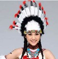 New Hot Halloween Masquerade Dress Color Feather Headdress Thanksgiving Cosplay Indian Chief  Props Feathered Headdress