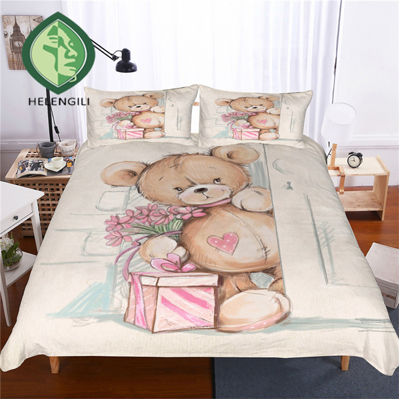 helengili 3d bedding set teddy bear print duvet cover set. Black Bedroom Furniture Sets. Home Design Ideas