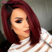 Doris beauty Ombre Red Bob Wig untuk Perempuan Kulit Hitam Synthetic Short Burgundy Hair dengan Side Part High Temperature Fiber