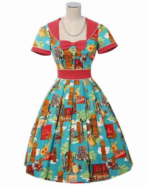 summer women vintage 50s Moai pattern polka dot sailor collar pleated swing  dress rockabilly pinup vestido fc17d6a3ad06