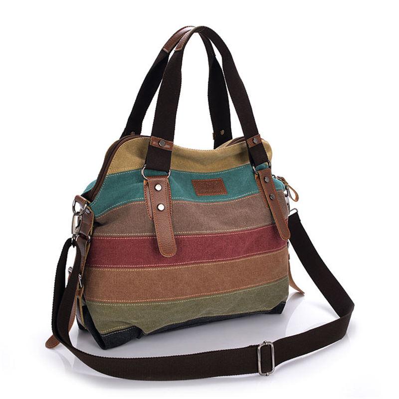 Colorful Women Canvas Shoulder Bag Large Satchel Handbags Ladies Patchwork Crossbody Messenger Bag Female Casual Tote Bag 1196 #3
