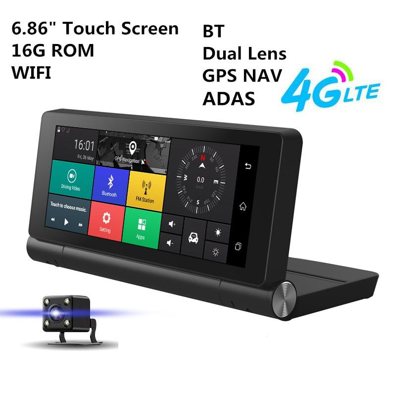"""6.86 """"4 г Видеорегистраторы для автомобилей GPS навигатор Двойной объектив Wi-Fi Bluetooth ADAS автореверса Изображение 1 г/16 г Android 5.1 видео Регистраторы Камера"""