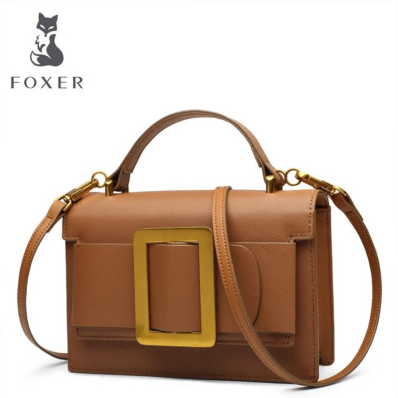 FOXER 2018 New women leather bag handbags designer fashion luxury top Cowhide small bag women leather Shoulder Crossbody Bags fashion leather handbags luxury head layer cowhide leather handbags women shoulder messenger bags bucket bag lady new style