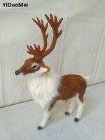 Artificial Sika Deer Model Polyethylene Real Furs Antlers Deer 22x7x27cm Handicraft Prop Home Decoration Toy Gift