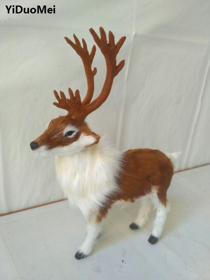artificial sika deer model,polyethyleneℜ furs antlers deer 22x7x27cm handicraft prop,home decoration toy gift a1838