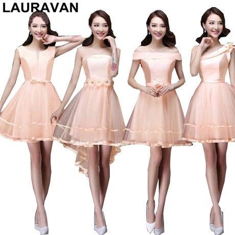 b5e91095d Niñas satén color melocotón un hombro corto país vestidos de dama barato  para damas nuevo para la boda envío libre en Vestidos de dama de honor de  Bodas y ...