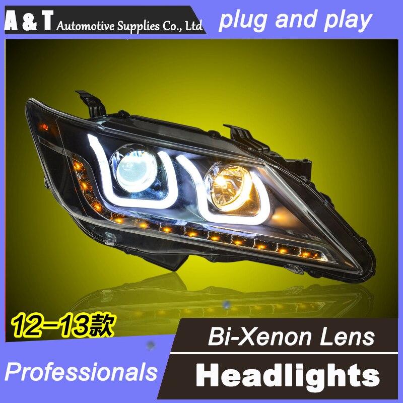 цена на car styling For TOYOTA Camry headlights U angel eyes DRL 2012-2014 For TOYOTA Camry LED light bar DRL bi xenon lens h7 xenon