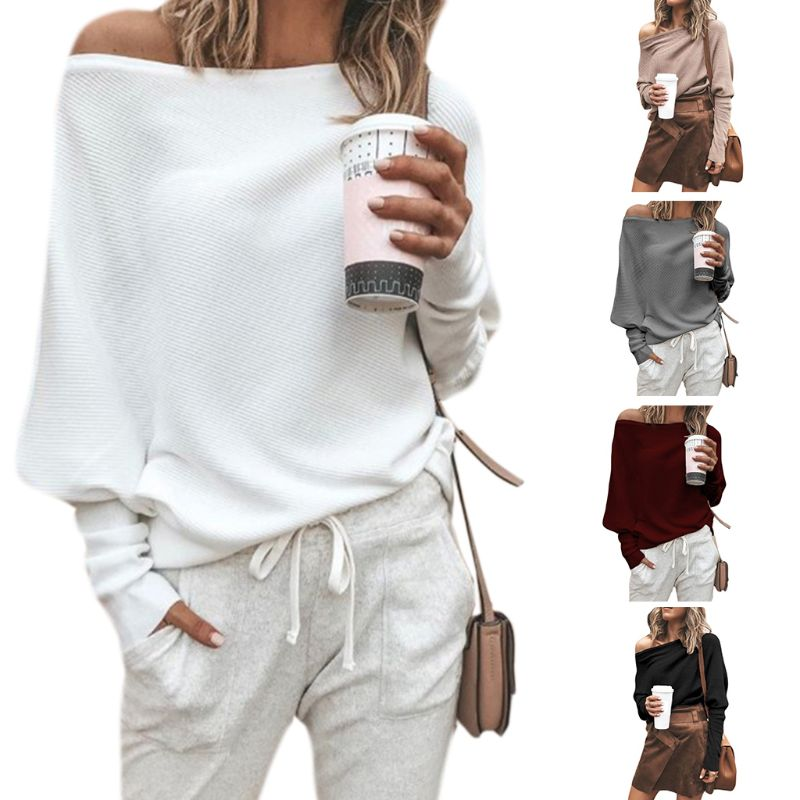 Women Autumn Spring Off Shoulder Sweater Long Batwing Sleeves Solid Color Knitted Pullover Tops Loose Casual Knitwear Jumper New 1
