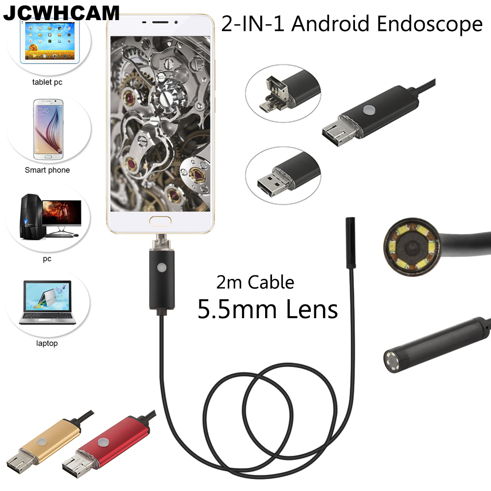 JCWHCAM 5,5 mm OD OTG USB Android endoskop kamera 2M flexibilní had vodotěsné trubice inspekce USB andorid Borescope fotoaparát