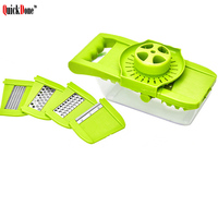 QuickDone 8 in 1 Multifunctional Vegetable Grater Fruit Slicer With Adjustable Stainless Steel Blades And Container AKC6109
