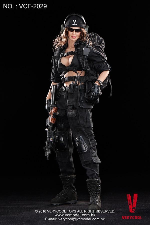 цена на VCF-2029 1:6 black female shooter hand movable model soldier Action Figure Model