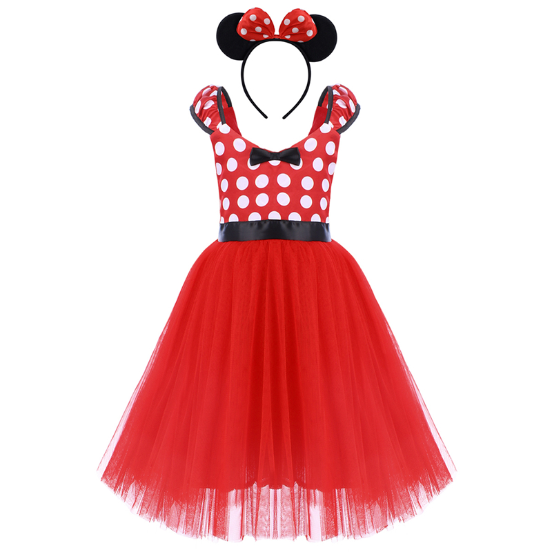 222e22137 2pcs Set Mickey Mouse Clothing for Girls Child Birthday Party Minnie Mouse  Dress Headband Mickey Fancy