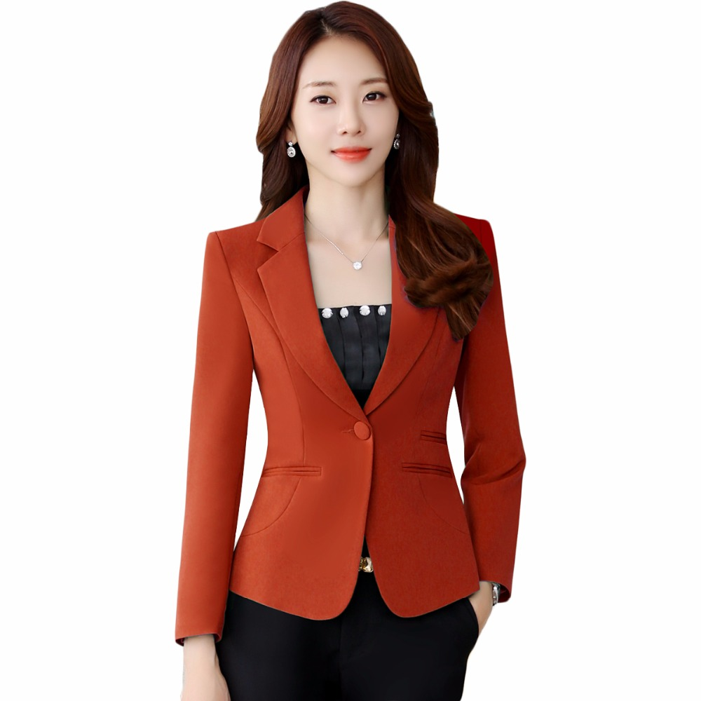 43ca1eb5015df 2018 New Plus Size 4XL Female Coats Blazer Spring Summer Long Sleeve One  Button Jacket Women Yellow Jackets Office Blazer