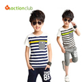 New arrival Children clothing sets Stripes summer casual set boys sports set 100% cotton summer short-sleeve wholesale KS363