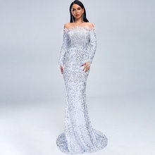Sexy Women Sequin White Maxi Glitter Dress Evening Long Sleeve Slash Feather Neck Off Shoulder Dresses Night Party Femme 2019(China)
