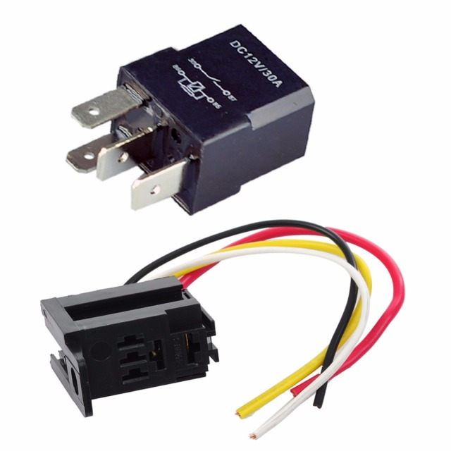 5 Set Car Relay 12V 30A 4 Pin 4P SPST & Socket 4 Prong 4 Wire 17 AWG ...