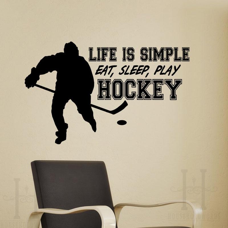 Life Is Simple Eat Sleep Play Hockey Wall Stickers Home Decor Living Room Wall Decorative Art Murals X252