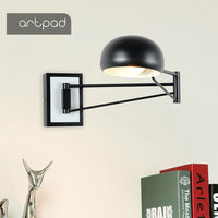 Artpad Long Swing Arm Wall Lamp AC110V 220V E27 LED Wall Mounted Light For Bedroom Bedside Living Room Study Indoor Lighting