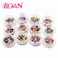 12 Color Plastic Beads Studs Supplies For Nails Design UV Gel Nail Art Ball Diy Charm