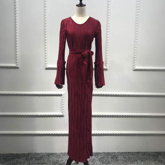 768d7c9c8f724 US $32.92 49% OFF|Plus Size Vestidos UAE Abaya Dubai Kaftan Long Bandage  Pleated Maxi Muslim Hijab Dress Women Arab Turkey Islamic Prayer  Clothing-in ...