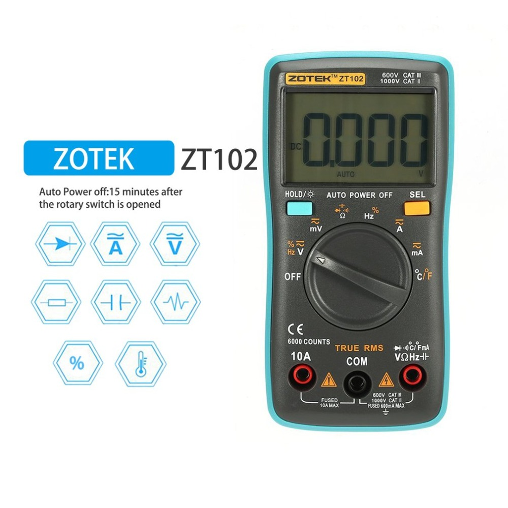 RM102 uni Multímetro Digital Mastech Multimetro ZT102 Transistor Tester Digital Medidor de esr richmeters Sanwa Multimetre Dropship