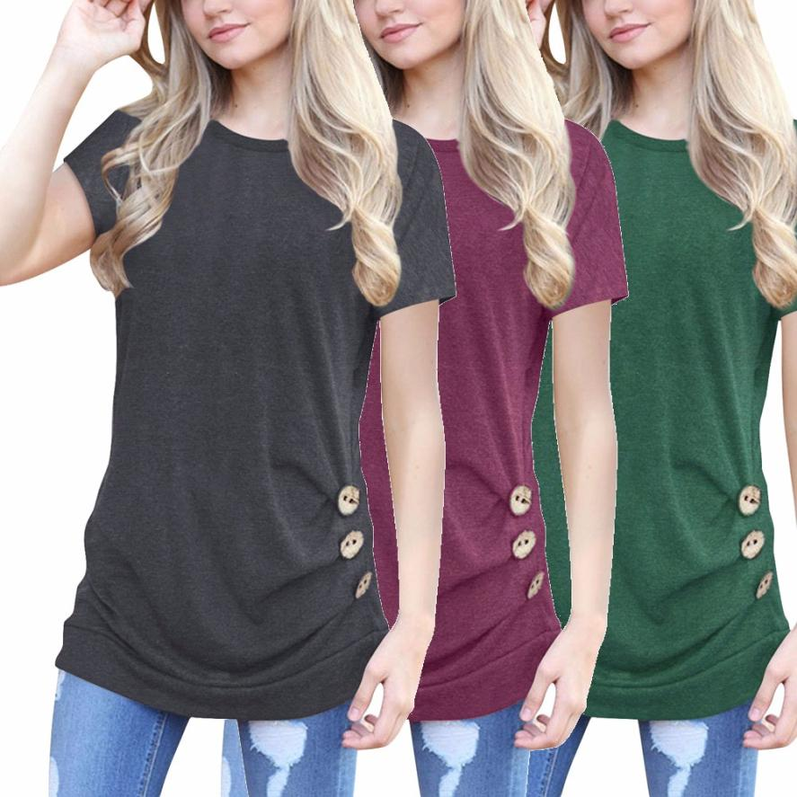 3a659db3b673a Detail Feedback Questions about 2018 Fashion Women Ladies Short Sleeve  Loose Button Trim Tops Solid color Round Neck Tunic Tops Clothes T Shirt  dames ...